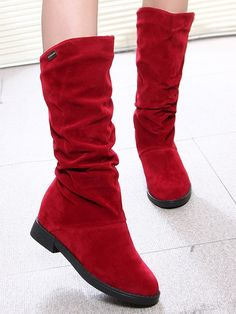2016 Autumn Winter Warm Flock Boots Fashion Flat Mid-calf Women Boot Lady Casual Shoes British Style Martin Boots Department Name: AdultItem Type Winter Fashion Boots, Autumn Fashion, Red Boots, Martin Boots, Mid Calf Boots, Fashion Flats, British Style, Girls Shoes, Casual Shoes