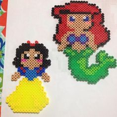 Snow White and Ariel perler beads by kay_marie09