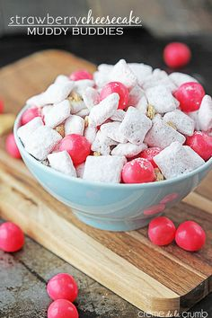 INGREDIENTS 6 cups rice chex cereal 2 cups white chocolate chips 1 small box strawberry jello pudding mix, dry 1 small box cheesecake jello pudding mix, dry ½ cup powdered sugar 2 graham cracker sh...