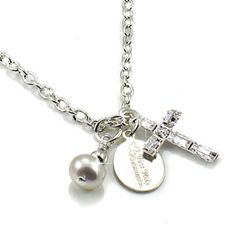 First Holy Communion Gift for Girls.  Silver plated Communion necklace with Swarovski Cross, Pearl and sterling silver tag.