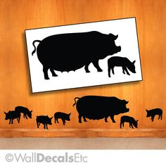 Farm Wall Decal - Mother and Baby Pigs Farm Animals, Barnyard Animals Vinyl Wall… Chicken Kitchen Decor, Rustic Kitchen Wall Decor, Pig Kitchen, Barnyard Animals, Pig Farming, San Diego Houses, Baby Pigs, Animal Silhouette, Rustic Colors