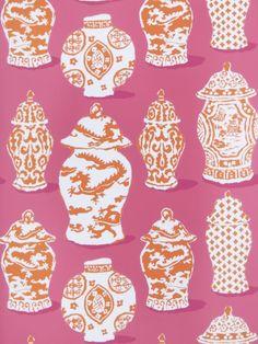 I love this ming vase wallpaper.