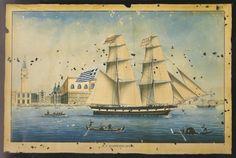 """Οικογένεια Luzzo, ΆΓΙΟΣ ΓΕΩΡΓΙΟΣ, υδατογραφία, 48x69 εκ. Μπρίκι του Α.Γ. Μαριώτη. Ναυπηγήθηκε στο Γαλαξίδι το 1854 (235 τόνοι).  Από το βιβλίο """"ΓΑΛΑΞΙΔΙΩΤΙΚΑ ΚΑΡΑΒΙΑ"""", σελ. 65, εικόνα 49."""