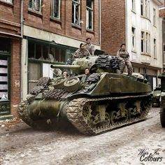 M4 Sherman tank of 8th Armd Bde (possibly 4th - 7th Royal Dragoon Gds) in Amsterdamerstraße, Kevelaer, Germany.Mar 45