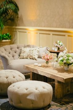 Beige Button Settee and Tufted Cushions at Montage Laguna Beach Wedding with Jill LaFleur, Found Vintage Rentals, Flowerwild, Sara and Rocky Photography, and Casa De Perrin