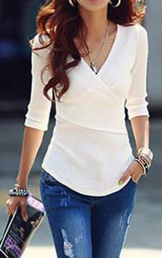 Stylish V-Neck Solid Color 1/2 Sleeve T-Shirt For Women