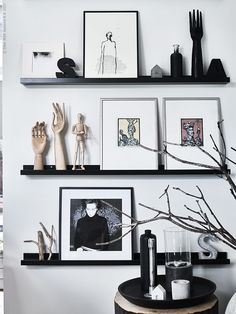 Making great displays from everyday objects - Making great displays from everyday objects - IKEA - Mosslanda Picture Ledge, Ikea Picture Ledge, Picture Rail, Picture Shelves, Wall Shelves, Photo Ledge Display, Book Shelves, Ikea Mosslanda, Ikea Pictures