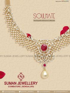 Wear the elegant diamond necklace with stylish design & have a royal look necklace at Suman jewellery. #suman_jewellery #diamond #necklace #pure #stones