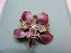 tiny David Andersen Sterling Silver and Purple Enamel Floral brooch