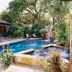 waterfalls in pool