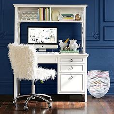 Kylie Collection Desk with Hutch and Chair Value Bundle White 324