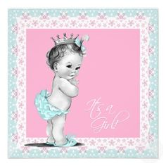 Pink and Teal Blue Vintage Baby Girl Shower Personalized Invitation
