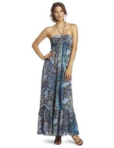 Anne Klein Women's Python Print Maxi Dress, Brown/teal/blue, 10
