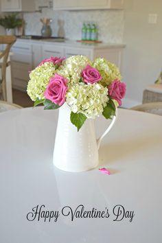 valentines boquet pink roses white hydrangeas arrangement