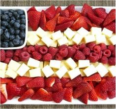 Healthy Independence Day: strawberries, raspberries (or watermelon), blueberries and cheese (or bananas).