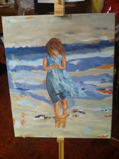 My fourth ever painting! Little girl at the seaside! I am pleased with how she turned out. Windswept dress and hair. I finished her today.