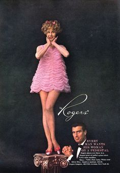 Rogers Lingerie On A Pedestal Babydoll Nightgown, 1960's