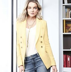 The jacket - reinvented in an of-the-season yellow hue.  #ItTakesStyle #whbm