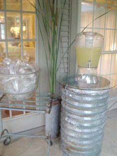 A galvanized metal culvert becomes a table/stand Galvanized Buckets, Galvanized Metal, Outdoor Projects, Diy Projects, Corrugated Metal, Outdoor Living, Outdoor Decor, The Ranch, Looks Cool