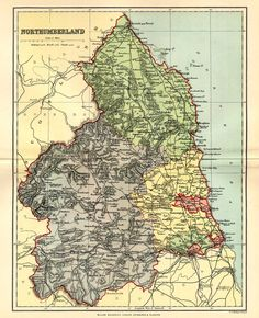 Map of Northumberland North East Map, Family Origin, Somewhere In Time, Foster Family, Image Map, Family Genealogy, North Yorkshire, Homeland, Newcastle