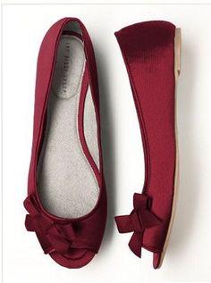 Claret Peep Toe Ballet Flats $30.00