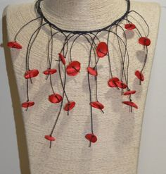 Red poppy boho necklace with elegant flowers for a strong color contrast to the clothes.Beautiful for creative appearance. Elegant Flowers, Flower Jewelry, Red Poppies, Handmade Flowers, Boho Necklace, Poppy, Contrast, Gift Wrapping, Strong