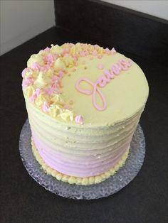 Lemon and Raspberry Ombré Ribbon Birthday Cake