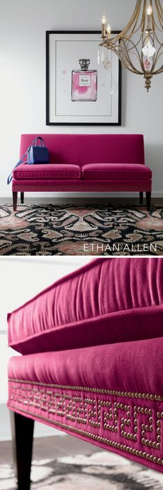 Think pink—say, a rich magenta wrapped around a seductively modern settee—for pure joy.