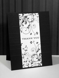 """Showcase different sections of the """"Leafy Vines"""" stamp with black ink on white paper to create a unique effect. Simple score lines add some character to the black card base. DIY thank you card."""