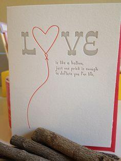 Anti Valentine's Day Card - Letterpress card. $5.50, via Etsy.