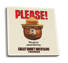 Smoky Mountains Tennessee, Great Smoky Mountains, Lost Lake Oregon, Vintage Cabin, Outdoor Stickers, Ceramic Coasters, Room Themes, Coaster Set, Vintage Posters