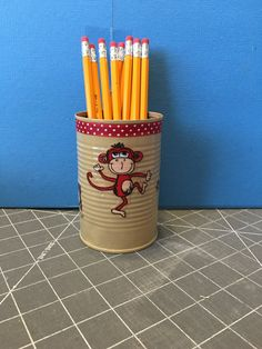 MONKEYS RED RIBBON Can Holder/Pencils/Pens/Markers/ Brushes/Flowerss/Money/Candy/Gift Holder by KreationsGalore on Etsy
