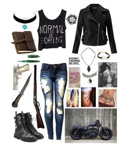 """Supernatural OC"" by wafflecat1997 on Polyvore featuring Miss Selfridge, Giuseppe Zanotti, Topshop, RIFLE, Rustico, NOVICA, Stipula and Tattly"