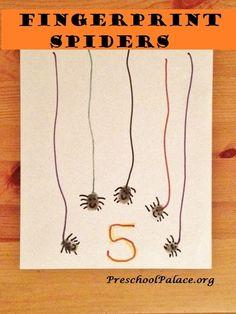 Fingerprint spider Halloween craft for preschool.