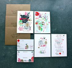 Wed­ding mate­ri­als designed by Letitia Buchan for her own wed­ding. Gorgeous!