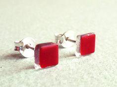 Red post earrings  Little red stud earrings  Sterling by BGLASSbcn, $16.00