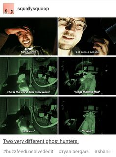 Two very different ghost hunters. Dankest Memes, Funny Memes, Funny Quotes, Funny Faces Pictures, Try Guys, Mystery, Ghost Adventures, Ghost Hunters, My Tumblr