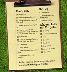 Tailgate Checklist, of course don't forget your tickets!