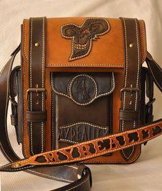 Brown leather men's tablet messenger bag от byHappyMargaret