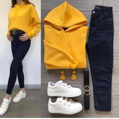 Yellow🙏 💫🔥 Sweat Hooded Fleece Jeans Belt // Triple Combination Only // Velcro Shoes I … Casual Work Outfits, Trendy Outfits, Cute Outfits, Winter Fashion Outfits, Fall Outfits, Fashion Dresses, Teenager Outfits, College Outfits, Sari
