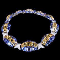 DAVID WEBB New York.c1950.Impressive coloured sapphire and diamond cluster necklace