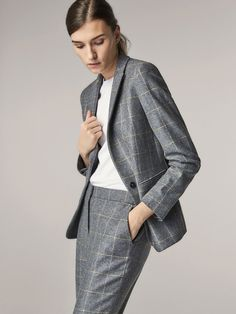 9fc3b9827f7de SLIM FIT CHECKED WOOL SUIT BLAZER - Women - Massimo Dutti