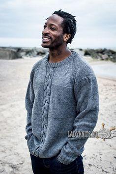 Мужской вязаный свитер с косой по центру