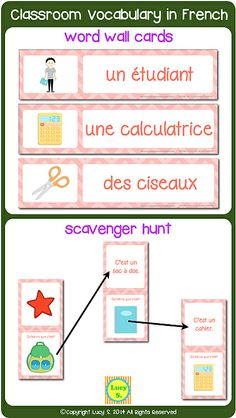 French Classroom Vocabulary - word wall cards and scavenger hunt activity (a get-up-and-move energizing activity! French Teaching Resources, Teaching French, French Language Learning, Language Lessons, High School French, Vocabulary Word Walls, Parisian Party, French Worksheets, Core French