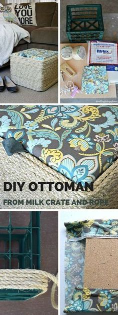 Check out this tutorial: DIY Milk Crate Ottoman crafts homedecor - Decoration Organization Crate Ottoman, Diy Ottoman, Ottoman Slipcover, Diy Storage Ottoman, Ottoman Cover, Ottoman Bench, Diy Simple, Easy Diy, Clever Diy