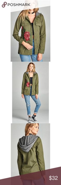 🆕 Olive Rose Embroidered Utility Jacket S M L Olive rose embroidered utility jacket, buttons down front, two tone Terry hood, pockets on front, 100% Cotton.  Available in size small, medium, or large.  No Trades, Price Firm unless Bundled.  BUNDLE 3 OR MORE ITEMS FOR 15 % OFF. Boutique Jackets & Coats Utility Jackets