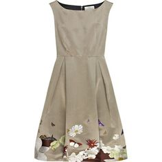 Taupe satin boat neck dress with multicolored butterfly and flower hand-embroidered hem. Erdem dress has inverted box pleating on skirt, a concealed zip fastening on back and is fully lined. Pretty Dresses, Beautiful Dresses, Art Du Fil, Butterfly Dress, Monarch Butterfly, Boat Neck Dress, Style Outfits, Satin Dresses, Long Dresses