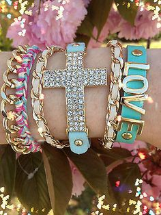 Bracelet Arm Candy Stack Blue Leather Love Rhinestone Cross Chain Set of 4 New