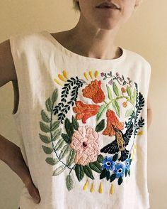Hummingbird linen tank is now on etsy, One of a kind   I'd say it's about a…