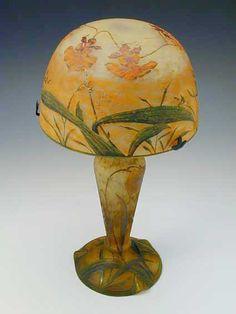 Art Nouveau Cameo lamp with enamel decoration